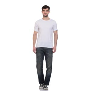 Blue-tuff Cotton Multi Trending Plain White Round Neck T-shirt