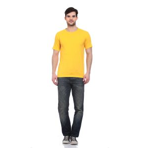 Blue-tuff Cotton Multi Trending Plain Round Neck T-shirt- Yellow