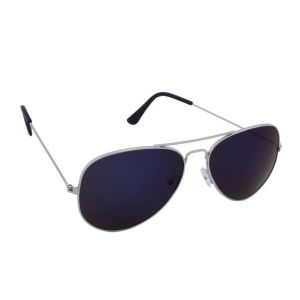 Blue-tuff Aviator Mercury Sunglasses Dark Blue Mirror With Silver Frame