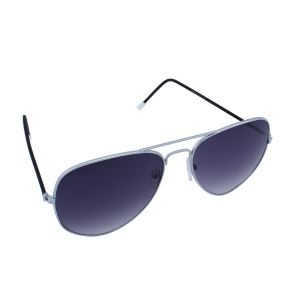 Blue-tuff Aviator Sunglasses Silver/black Frame With Blue Mirror