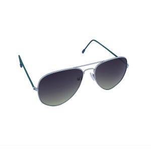 Blue-tuff Aviator Sunglasses Silver/green Frame With Green Mirror