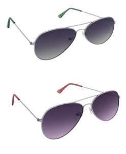 Blue-tuff Mens Flat Aviator Sunglass Shades Combo-silver Red/green Gradient