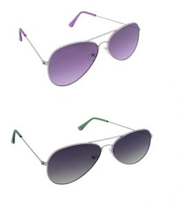 Blue-tuff Mens Flat Aviator Sunglass Combo-silver Purple/green Gradient