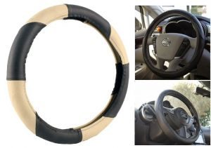 MP Car Steering Wheel Cover Grip Leatherite Black/beige For Tata Nano