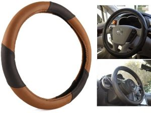 MP Car Steering Wheel Cover Leatherite Black/brown For Tata Nano