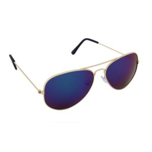 Blue-tuff Aviator Mercury Sunglasses Dark Blue Mirror With Golden Frame