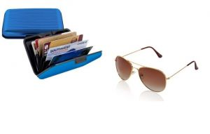 Combo - Brown Aviator Sunglass & Aluma Aluminium Card Holder