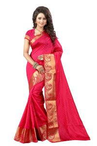 See More Self Design Pink And Golden Colourwoven Work Art Silk Saree With Unstitched Blouse Piece-raju Mor Pink