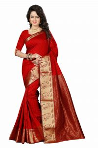 See More Self Design Red And Golden Colourwoven Work Art Silk Saree With Unstitched Blouse Piece-raju Mor Vel Red