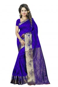 See More Self Design Blue And Golden Colourwoven Work Art Silk Saree With Unstitched Blouse Piece-plan Mor Blue