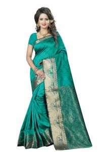 See More Self Design Rama And Golden Colourwoven Work Art Silk Saree With Unstitched Blouse Piece