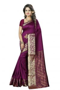 See More Self Design Magenta And Golden Colourwoven Work Art Silk Saree With Unstitched Blouse Piece