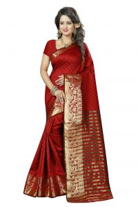 See More Self Design Red And Golden Colourwoven Work Art Silk Saree With Unstitched Blouse Piece