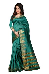 See More Self Design Rama Colour Poly Cotton Banarasi Saree With Blouse For Women Amar_jyoti_rama