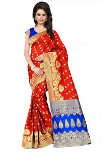 See More Self Design Red And Blue Color Banarasi Silk Saree Apex 107b Redblue