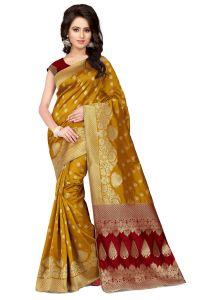 Banarasi Sarees - See More Self Design Mustard And Red Color Banarasi Silk Saree Apex 107B YellowRed