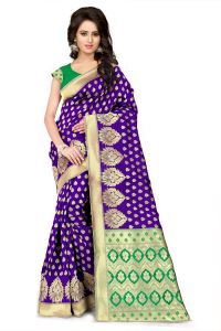See More Self Design Purple And Green Color Banarasi Silk Saree Apex 107 Purplegreen