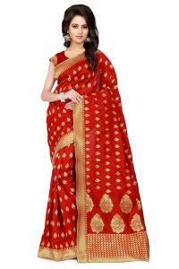 See More Self Design Red Color Banarasi Silk Saree Apex 109 Red