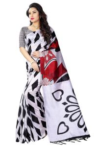 See More White And Black Color Printed Bhagalpuri Saree - (code - Art Silk 1)