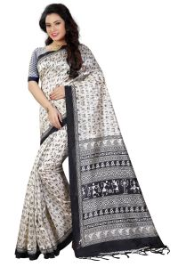 See More White Color Printed Bhagalpuri Saree - ( Code - Art Silk 2 )