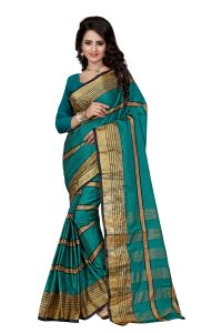 See More Self Designer Rama Colour Cotton Saree With Blouse For Women Aura Beauty Rama