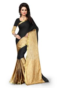 See More Cotton Black Colour Banarasi Saree With Blouse For Women Aura Black 004
