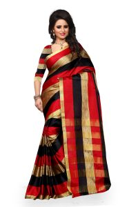 See More Cotton Banarasi Saree With Blouse For Women- Navy Blue Aura Black Red Leriya 003