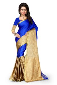 See More Self Design Cotton Blue Colour Banarasi Saree With Blouse For Women Aura Blue 005