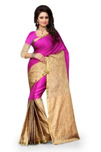 See More Self Design Cotton Pink Colour Banarasi Saree With Blouse For Women Aura Pink 006