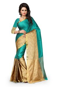 See More Slf Design Poly Cotton Rama Colour Banarasi Saree With Blouse For Women Aura Rama 008