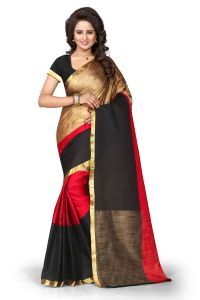 See More Slf Design Poly Cotton Red Colour Banarasi Saree With Blouse For Women Aura Tiranga Red 018