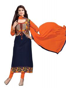 See More Dress Materials (Singles) - See More Cotton Embroidered Semi Stitched Salvar Suit and Dupatta for Women