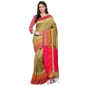 See More New Beige Colour Self Design Solid Silk Banarasi Saree Bahubali Chikku