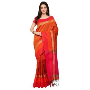 See More New Orange Colour Self Design Solid Silk Banarasi Saree Bahubali Orange