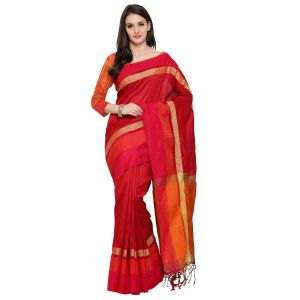 See More New Red Colour Self Design Solid Silk Banarasi Saree Bahubali Red