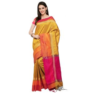 See More Silk Sarees - See More New Yellow Colour Self Design Solid Silk Banarasi Saree BAHUBALI YELLOW