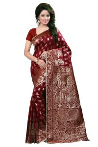 Self Design Art Silk Maroon Clour Banarasi Saree With Blouse For Womens Banarasi 1001 Marooon
