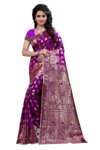 See More Sarees (Misc) - Self Design Art Silk Purple Colour Saree Banarasi Saree With Blouse For Women Banarasi_ 1001_ purple