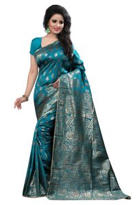 See More Self Design Art Silk Rama Colour Saree Banarasi Saree With Blouse For Women
