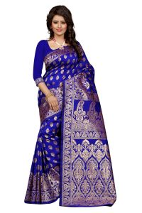 Self Design Art Silk Blue Colour Saree Banarasi Saree With Blouse For Women Banarasi_1002_blue