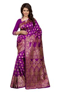 Self Design Art Silk Majenta Colour Banarasi Saree With Blouse For Women