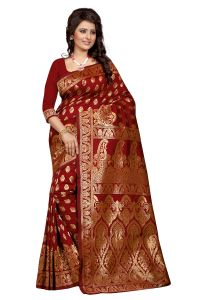 Triveni,Pick Pocket,Shonaya,See More,Bikaw,Cloe,Kiara Women's Clothing - See More Maroon Art Silk Banarasi Saree Banarasi_1002_Maroon Ideal for Gifts Online