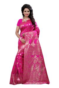 Self Design Art Silk Pink Colour Banarasi Saree With Blouse For Women Banarasi_1002_pink