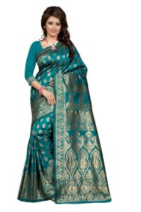 Self Design Art Silk Rama Colour Banarasi Saree With Blouse For Women Banarasi_1002_rama