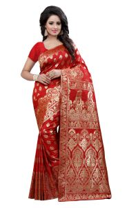 Soie,Unimod,Valentine,See More,Cloe,Jagdamba Sarees - See More Self Design Red Color Kanjivaram Art Silk Saree