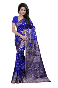 Self Design Art Silk Blue Colour Banarasi Saree With Blouse For Women Banarasi_1003_blue