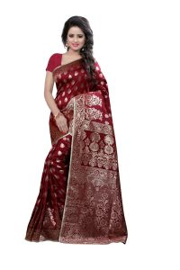 See More Self Design Maroon Color Kanjivaram Art Silk Saree