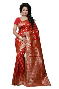 Triveni,Pick Pocket,Shonaya,See More,Bikaw,Port Women's Clothing - See More Self Design Kanjivaram Art Silk Saree 1003 red