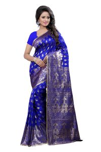 Soie,Unimod,Valentine,See More,Cloe,Jagdamba Sarees - See More Self Design Kanjivaram Art Silk Saree 1004 Blue