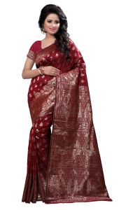 See More Self Design Art Silk Maroon Colour Banarasi Saree With Blouse For Womenbanarasi_1004_maroon